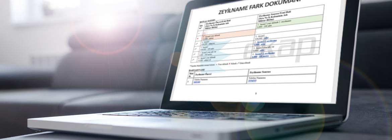 EKAP - Zeyilname Fark Dokümanı Otomatik Oluşturuluyor